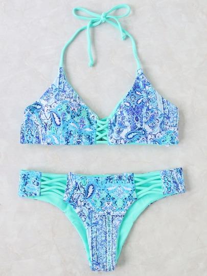 Blue Crisss Cross Detail Halter Bikini Set