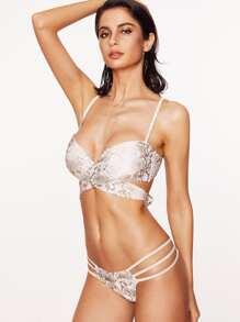 Set bikini con estampado de serpiente con aberturas - blanco