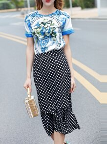 White and Blue Porcelain Top With Polka Dot Skirt