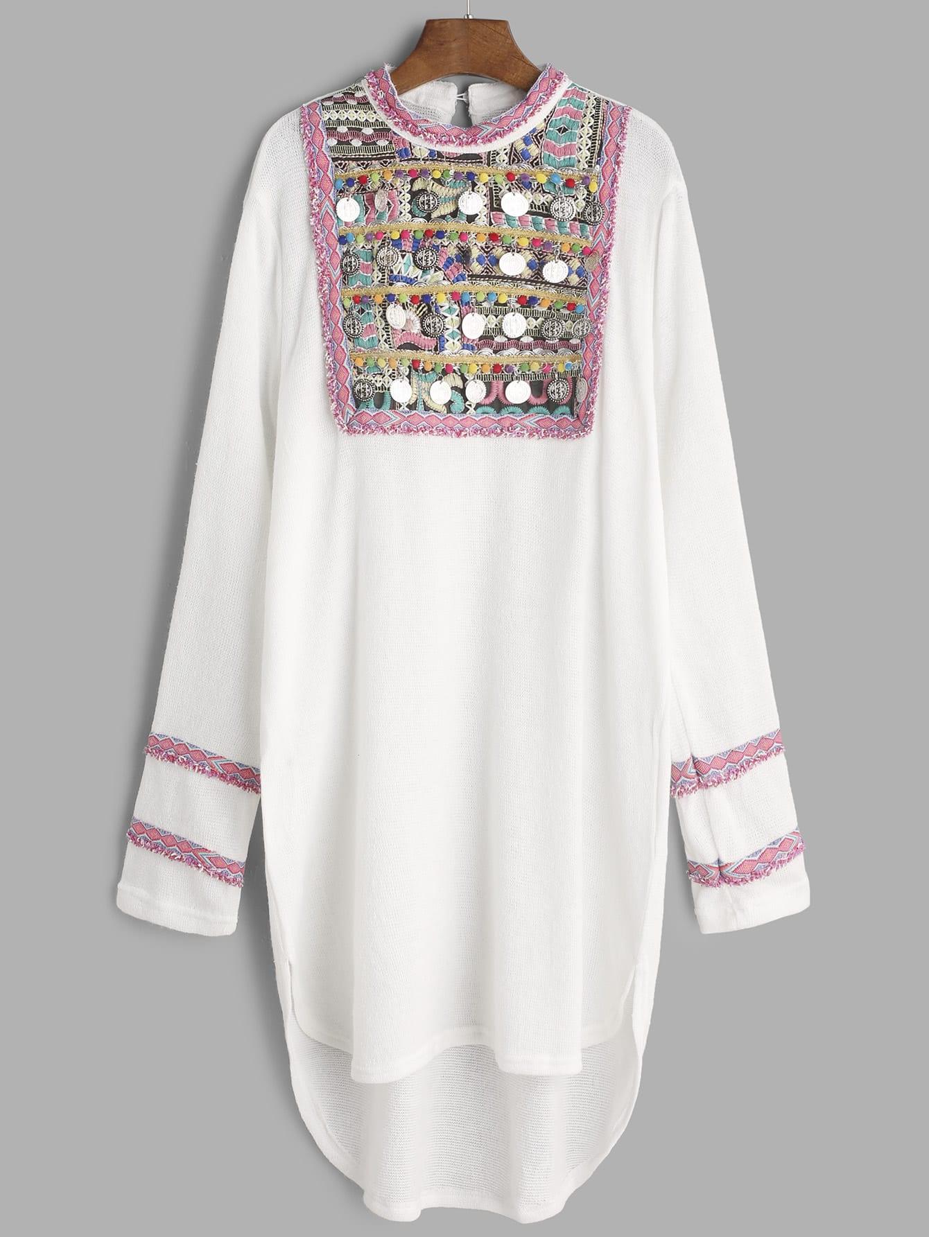 Фото Embroidered Yoke Coin Fringe Trim Dip Hem Dress. Купить с доставкой