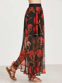 Falda larga con estampado floral de malla estilo overlay - negro