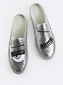 Metallic Embroidered Slip Ons SILVER