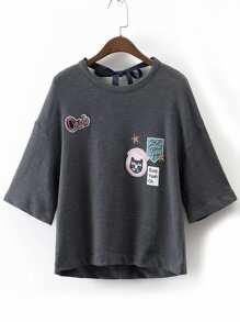 Grey Embroidery Drop Shoulder Tie Back T-shirt