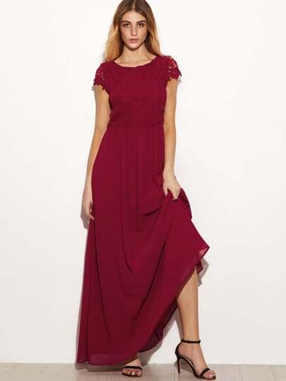 Бордовое макси платье с кружевной вставкой с открытой спиной