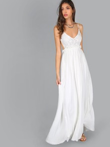Lace Overlay Backless Raw Hem Pleated Maxi Dress