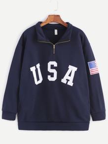 Navy USA Print Zip Detail Pocket Sweatshirt