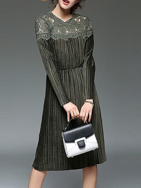 Фото Army Green Contrast Crochet Hollow Out Velvet Dress. Купить с доставкой
