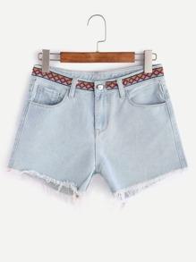 Lave-effet de short en jean détaillant ruban brodé - Bleu