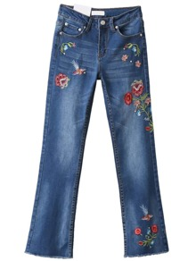 Blue Flower Embroidery Beaded Denim Pants