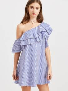 Striped One Shoulder Layered Frill Dress