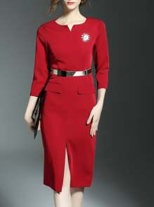 Red V Neck Belted Split Sheath Dress