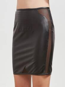 Falda de cuero sintético de malla insertada - negro