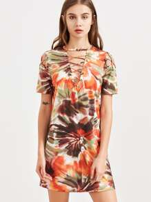 Multicolor Tie Dye Print Lace Up V Neck Tee Dress