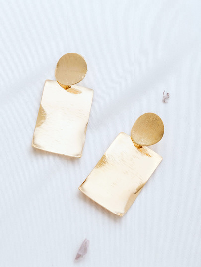 Gold Rectangle Stud Earrings