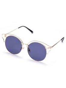Gold Frame Transparent Design Round Sunglasses