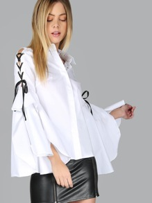 Buttoned Down Lace Up Bell Sleeve Blouse WHITE