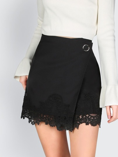 Wrapped Lace Skirt BLACK