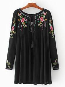 Black Flower Embroidered Tie Neck Tent Dress