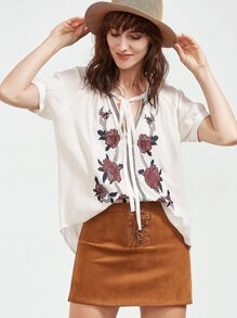 Tie Neck Rose Embroidered Crepe Top