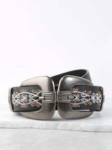 Embroidered Double Buckle Belt BLACK