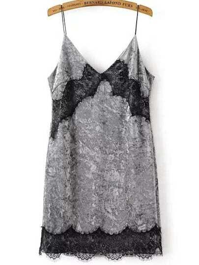 Grey Contrast Lace Velvet Bodycon Dress