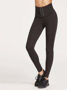Lace Up Wide Waistband Leggings