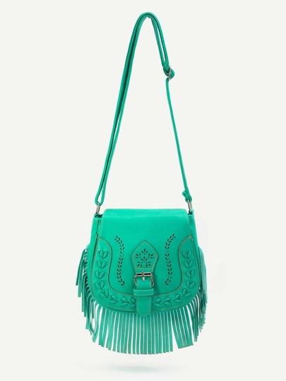 Jade Blue Fringe Hem Buckle PU Shoulder Bag