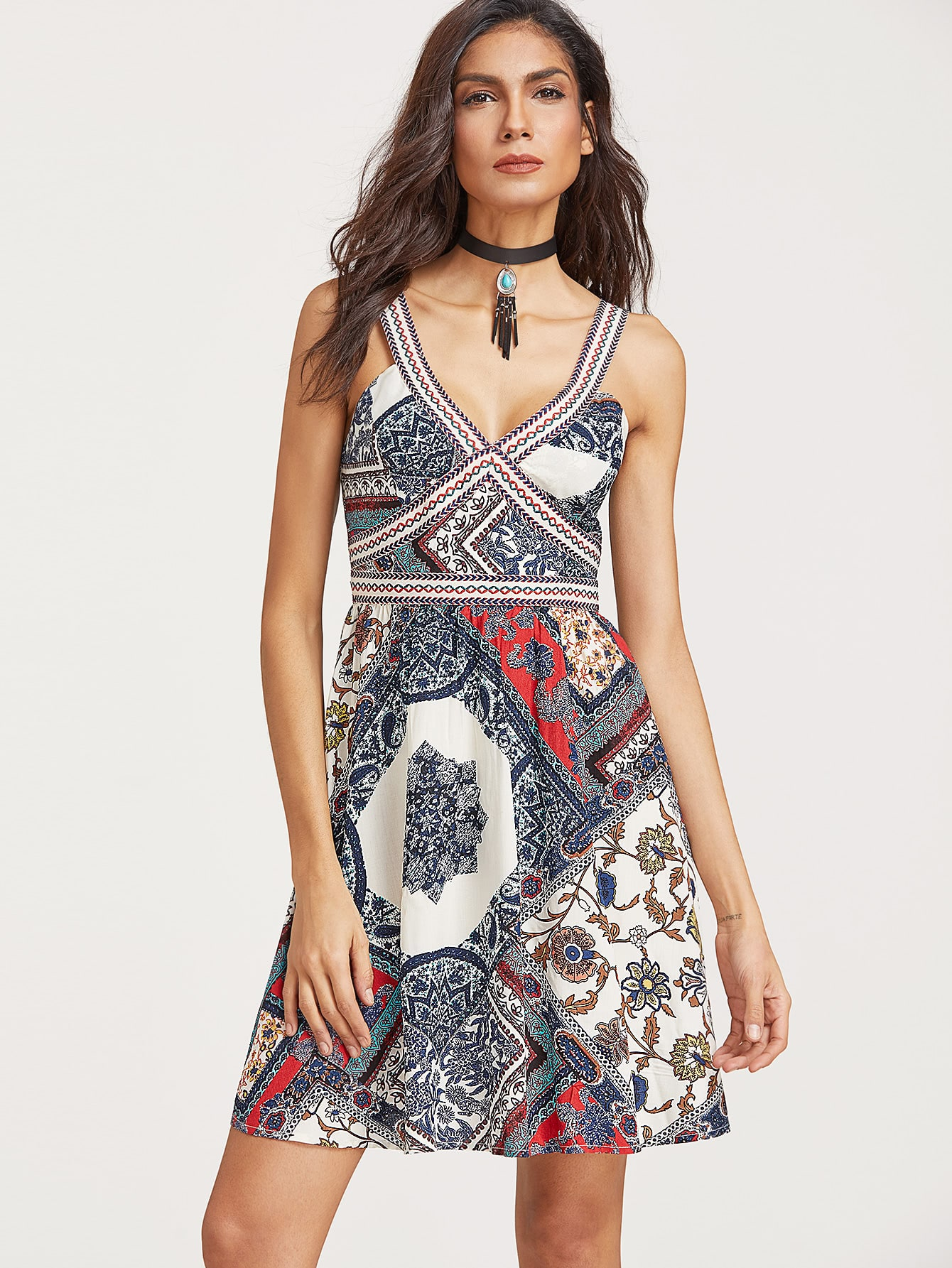Multicolor Patchwork Print Embroidered Strap Detail A Line Dress
