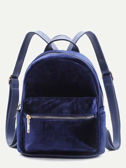 Blue Front Zipper Velvet Backpack