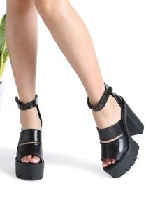 Black Ankle Strap Platform Chunky Heeled Sandals
