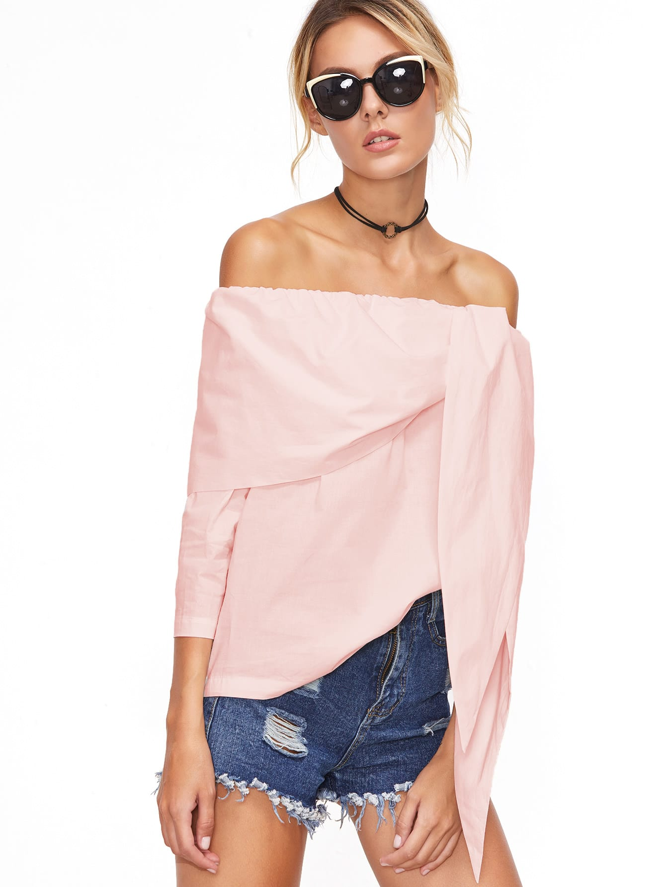 Pink Off The Shoulder Tunic Top blouse170228701