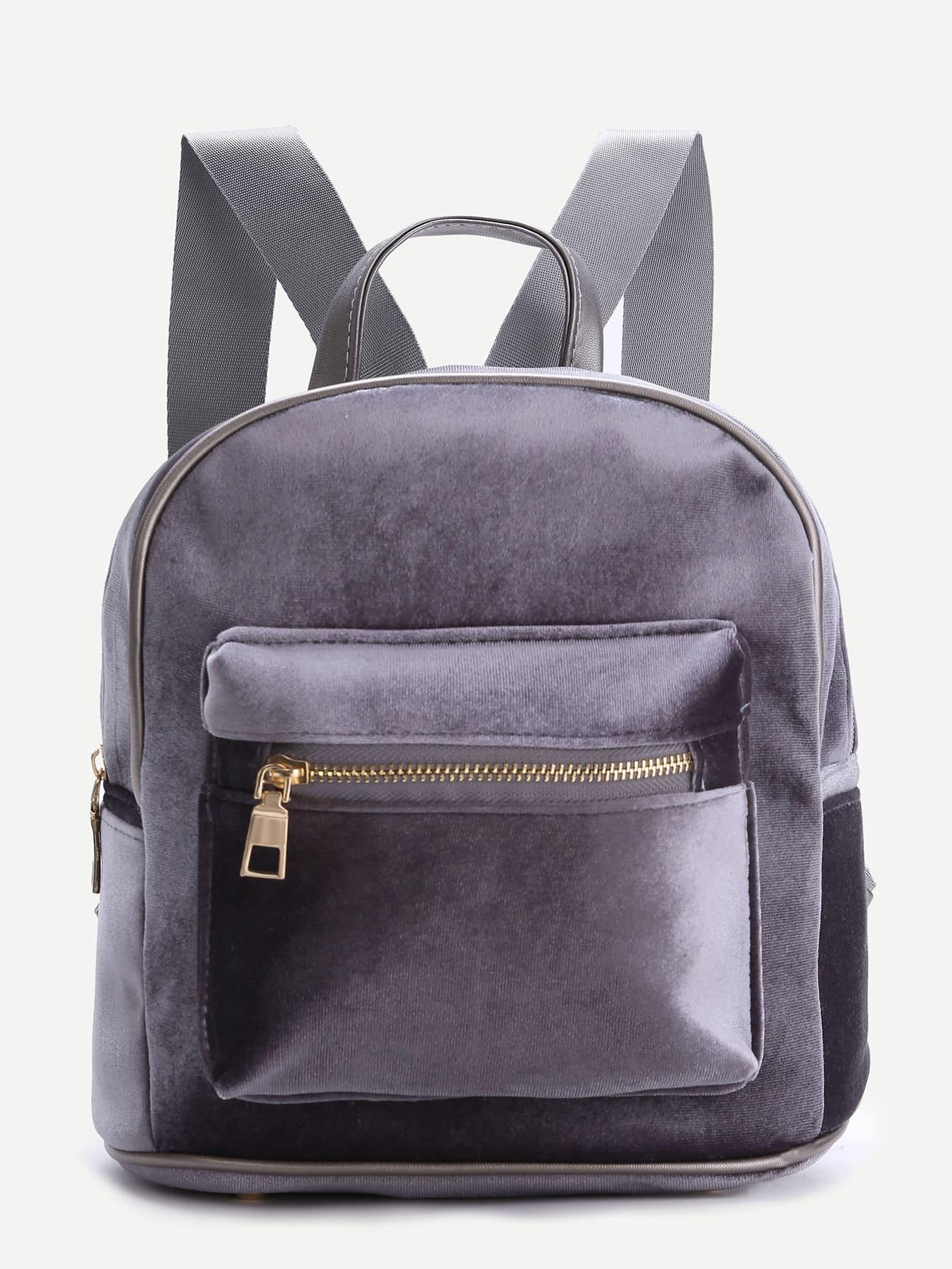Фото Grey Zipper Detail Velvet Backpack. Купить с доставкой