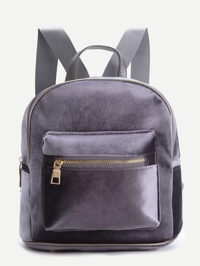 Серый бархатный рюкзак