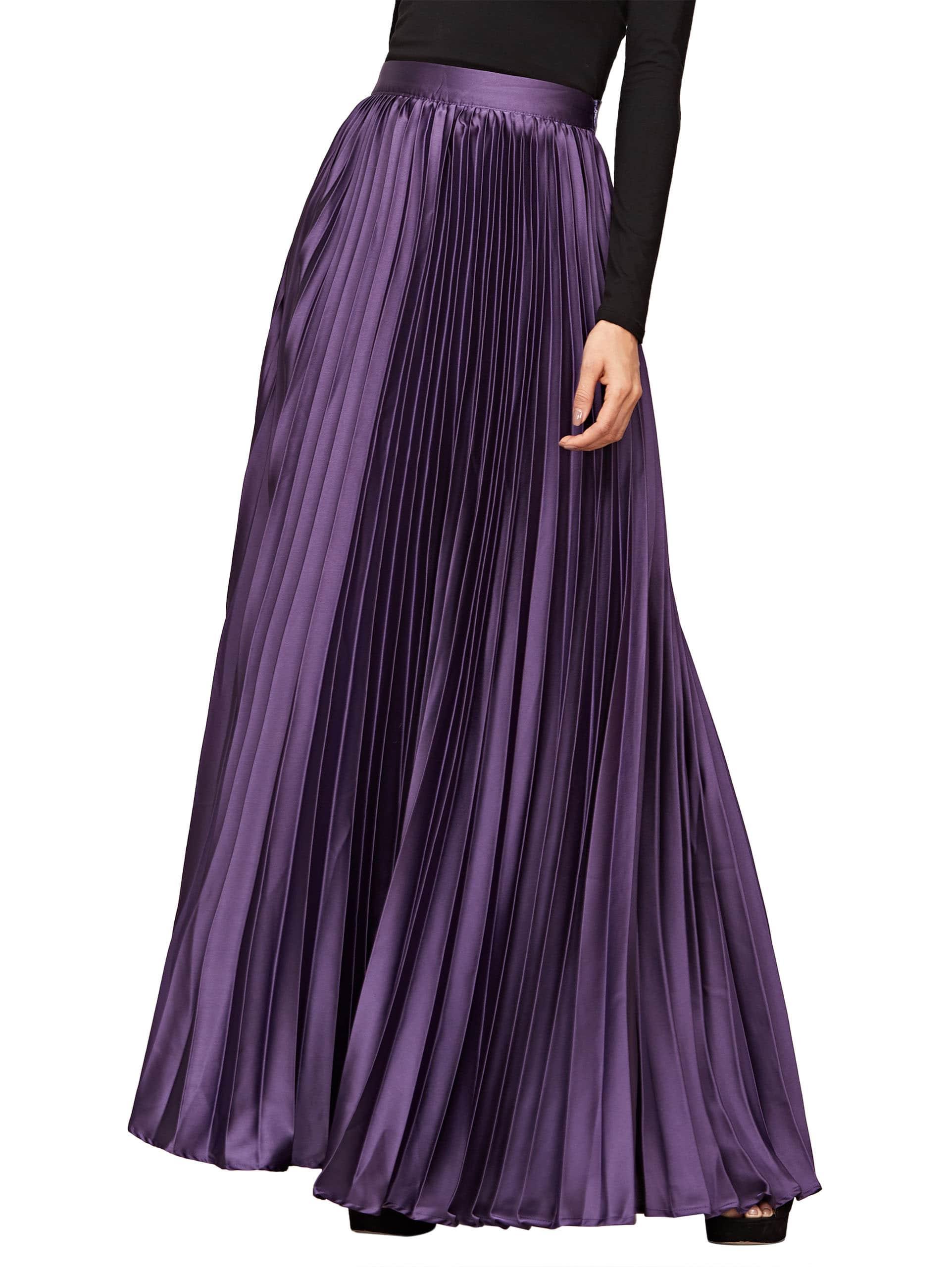 zipper side pleated maxi skirt shein sheinside