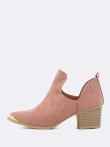 Metallic Toe Faux Suede Booties MAUVE