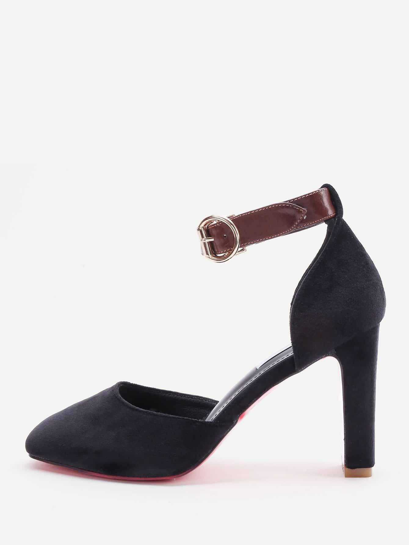 Фото Black Ankle Strap Stiletto Heels. Купить с доставкой