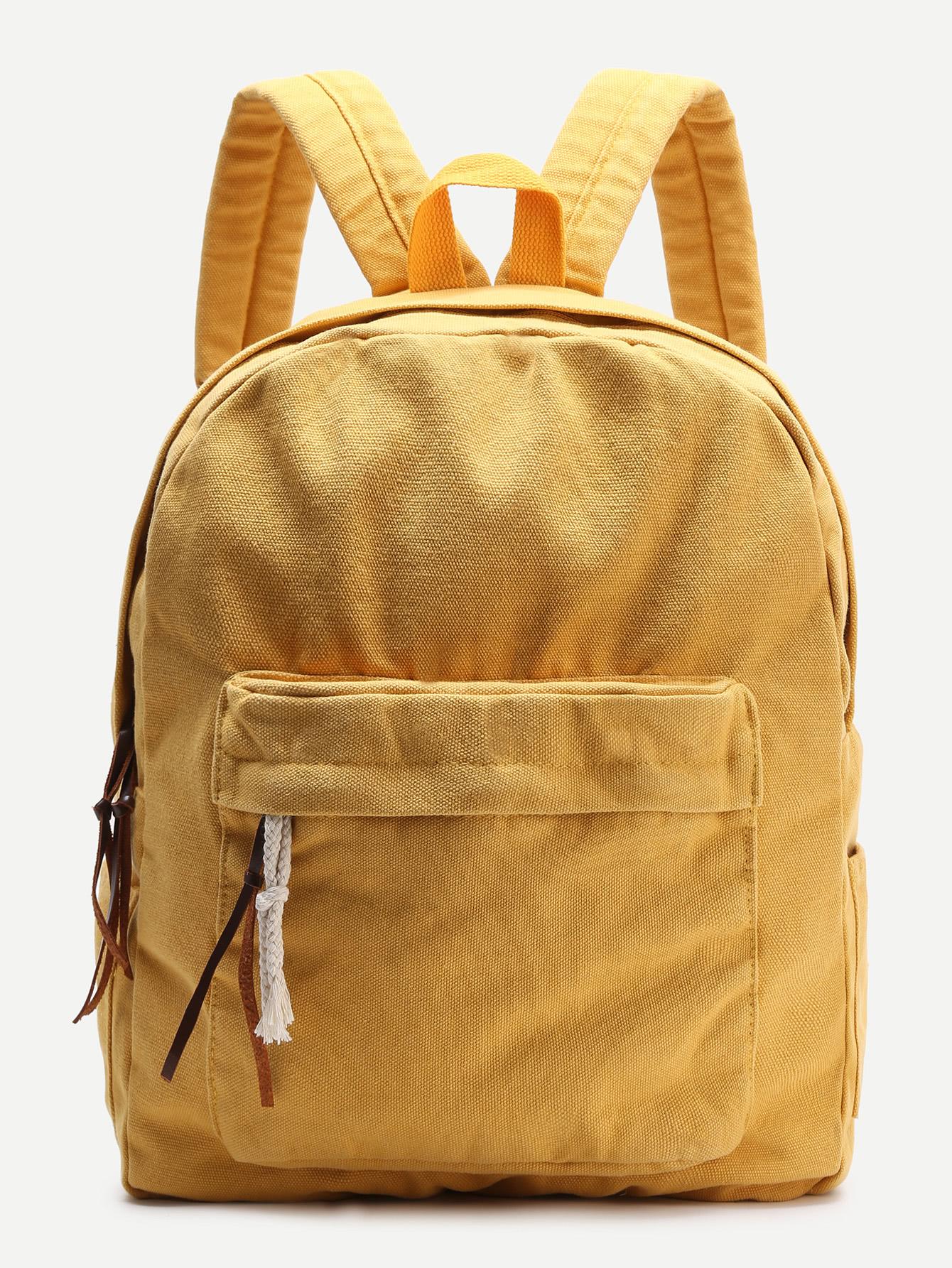 Фото Yellow Zipper Front Canvas Backpack. Купить с доставкой