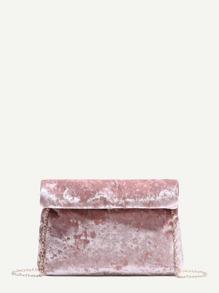 le sac foldover rose velours chaîne