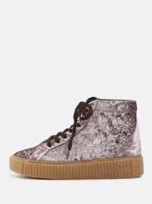 Embossed High Shaft Sneakers MAUVE