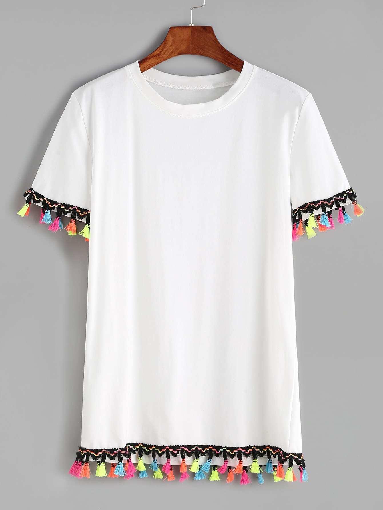 contrast crochet fringe trim t shirt shein sheinside. Black Bedroom Furniture Sets. Home Design Ideas