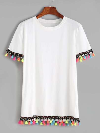 Contrast Crochet Fringe Trim T-shirt