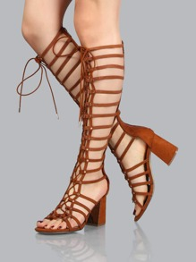 Gladiator Knee Chunky Heels CHESTNUT