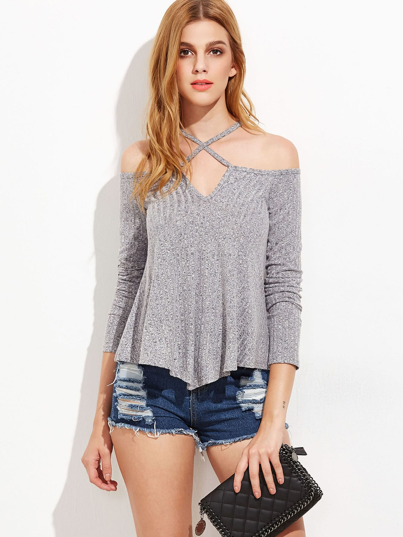 Open Shoulder Criss Cross Marled Knit T-shirt marled knit button front staggered hem t shirt