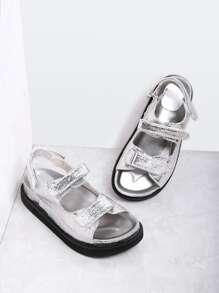 Silver Velcro Strap PU Sandales plates