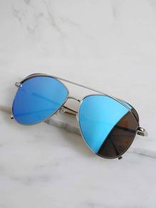 Reflective Aviator Sunglasses BLUE
