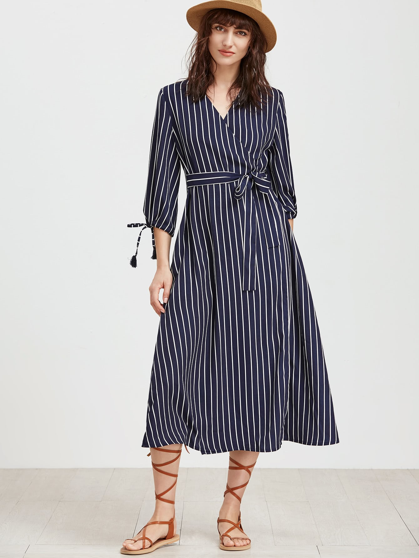 Vertical Striped Tie Cuff Surplice Wrap Dress dress170214706