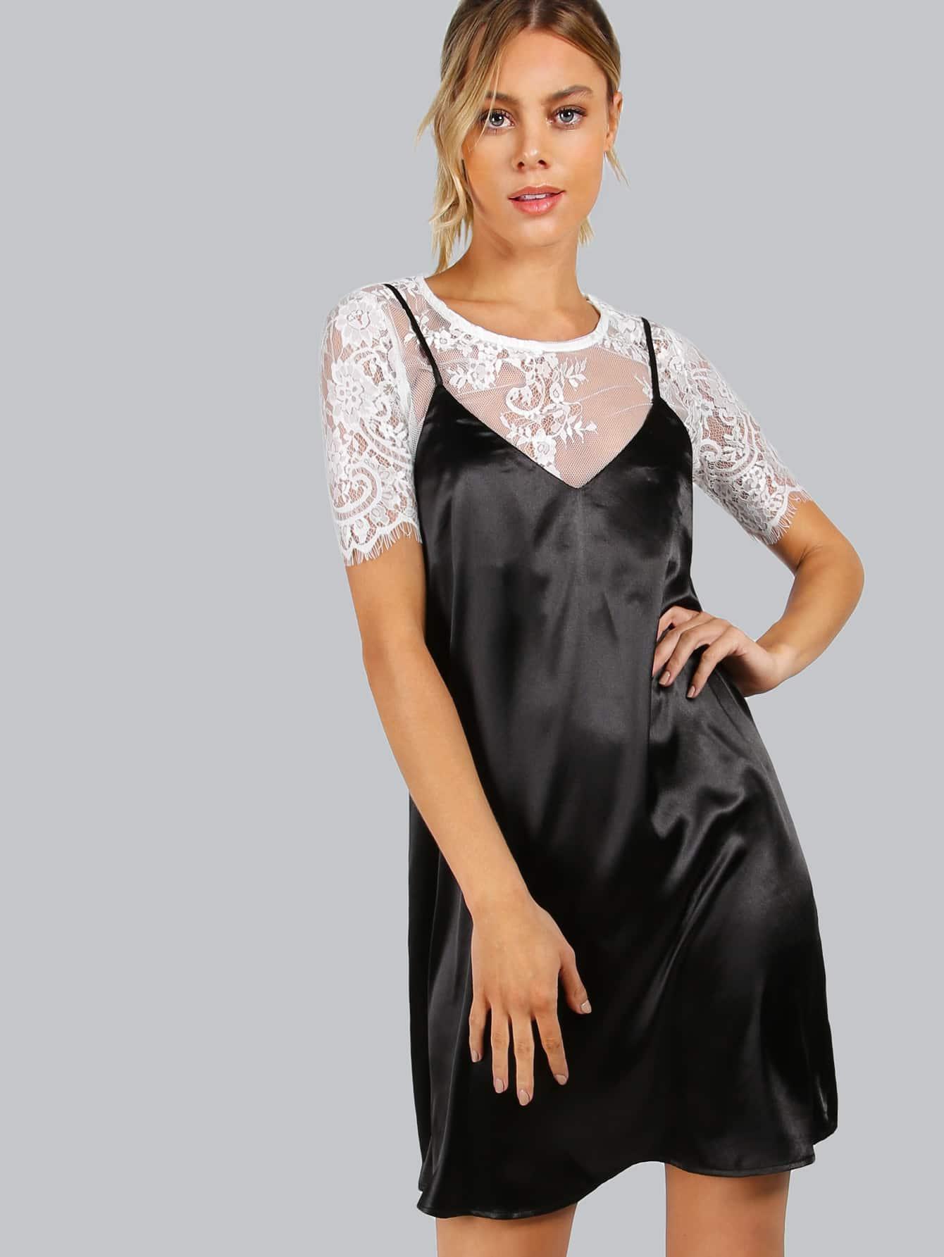 Фото Contrast Lace Top 2 In 1 Cami Dress. Купить с доставкой