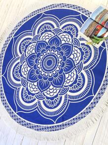 Blue Lotus Print Fringe Trim Round Beach Blanket