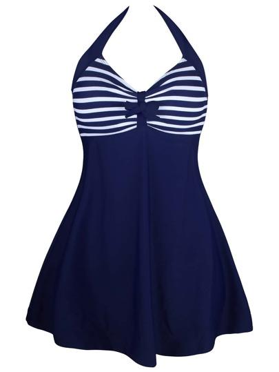 Striped Bow Detail One-Piece Swim Skort Dress