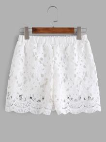 Elastic Waist Crochet Lace Overlay Shorts